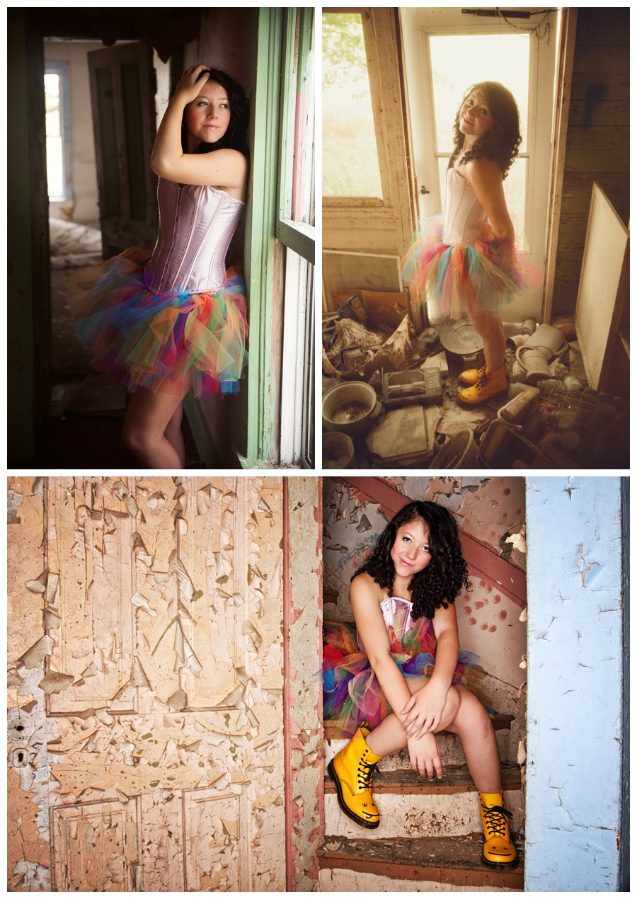 Images of Fro in a rainbow tutu and happy rain boots in an abandoned house. Shots with a ring flash and natural light from Fro's rockstar senior session with McClanahan Studio in Ames, IA!