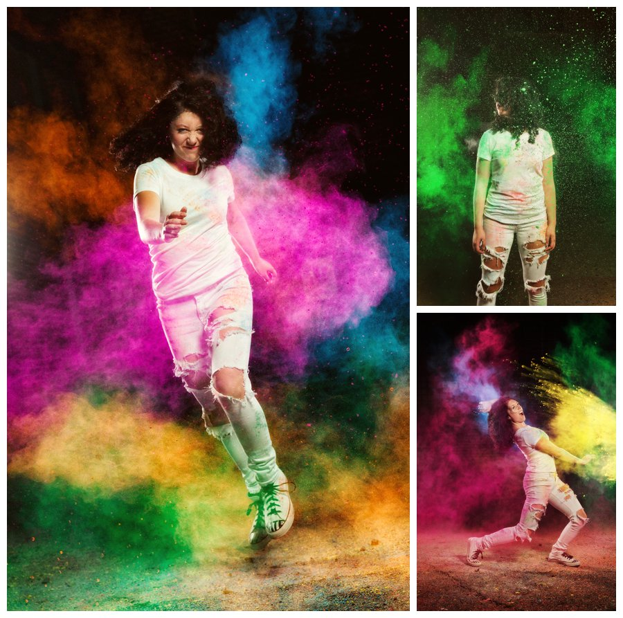 Midnight color run for senior portraits with Fro. Indian holi powder explosions staining white clothes to express the awesome energy of this girl. Portraits taken by Des Moines area photographer McClanahan Studio
