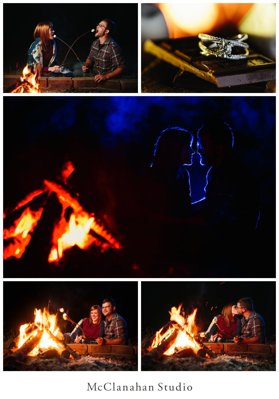 Cassie and Nate's outdoors themed engagement photos at McClanahan Studio and Ayda Hayden Park in Ames Iowa, canoe and campfire engagement session