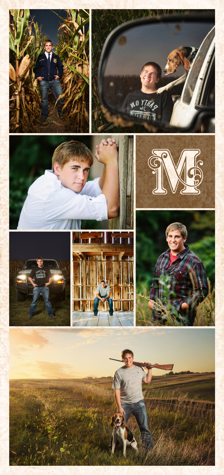 Coon Rapid and Jeffersion Iowa senior photos by McClanahan Studio. Corn field, pickup truck, barn and hunting portraits