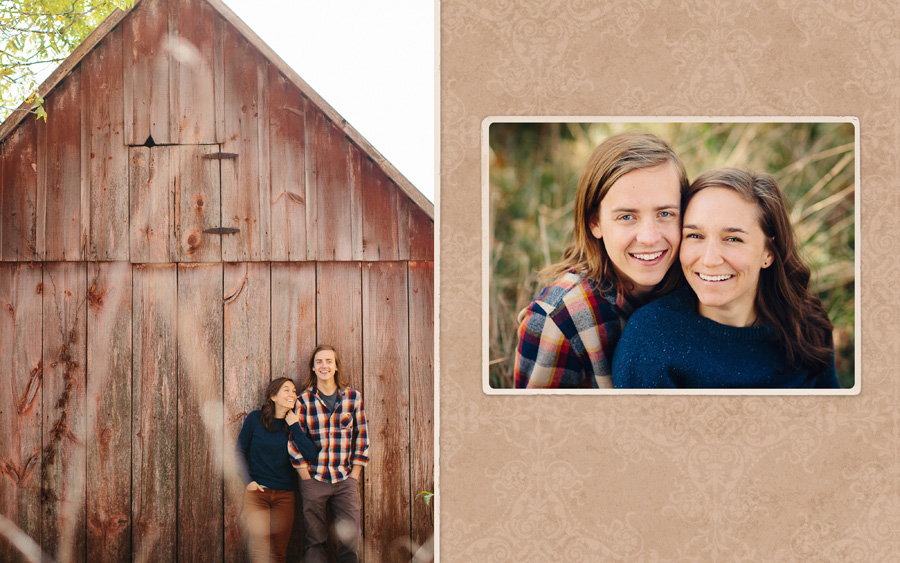Eric and Ellie's engagement photos on the family farm in Batavia, IA, standing in front of an old tool shed.