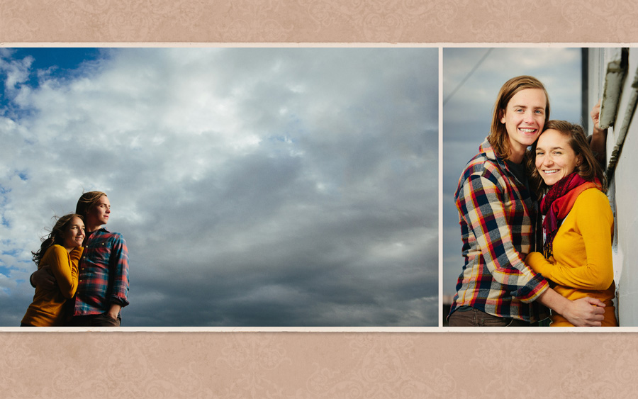 Engagement photo with dramatic sky on a windy afternoon with hair blowing in the wind. Close-up engagement portrait.