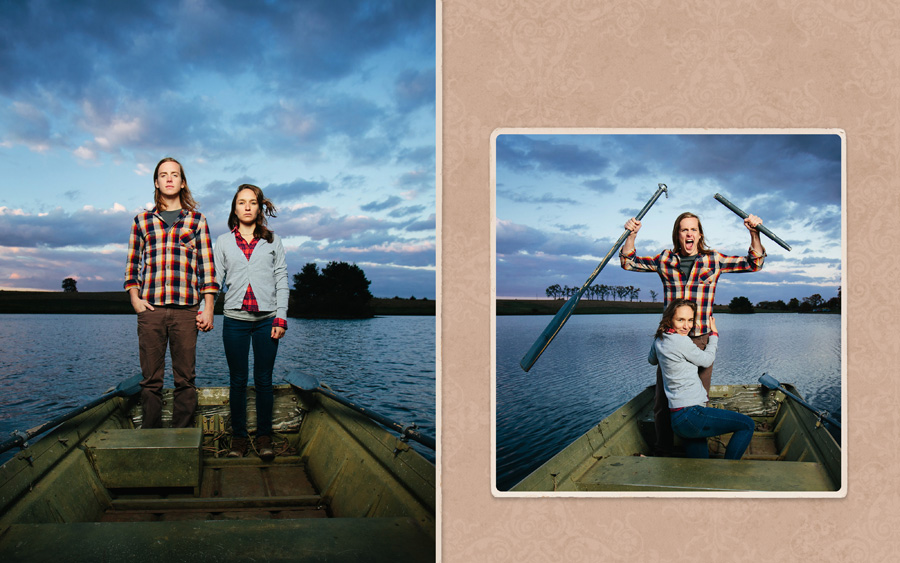 Engagement portraits in a rowboat on a fishing pond. Eric broke the oar from rowing to hard so we made a funny image out of it!  We photographed Eric and Ellie's engagement portraits on the farm to incorporate meaningful stories and locations