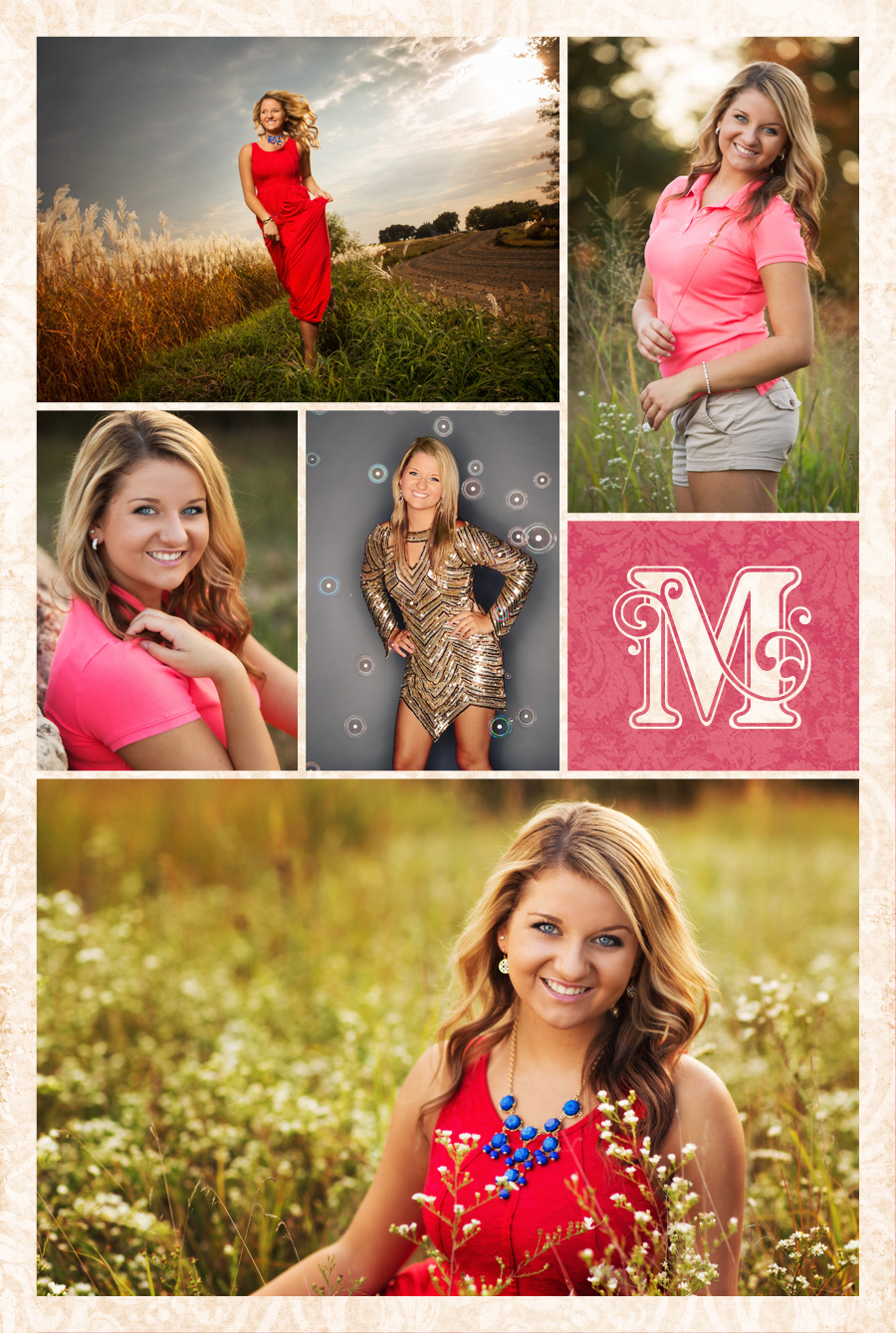 Portraits of Boone high school senior Allison Anderson photographed at her beautiful Iowa property with wildflowers and prairie grass. The sunset was a perfect compliment to her radiant smile! Some photos also taken in Ames at McClanahan Studio with a glam dress and bubbles.
