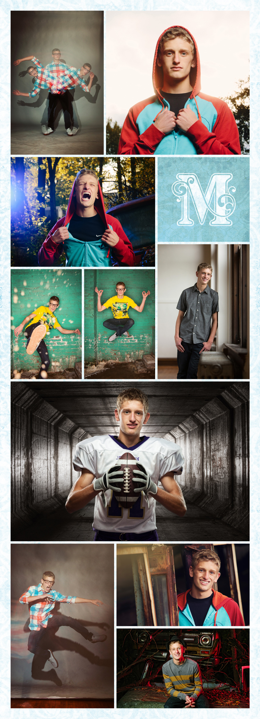 groovy photos of Johnston high school senior Alex rice playing football, looking fly in a hat, hanging out in a junkyard, playing with multiple exposures, being crazy, levitating, looking fashionable and being an all around awesome guy at McClanahan Studio in Ames