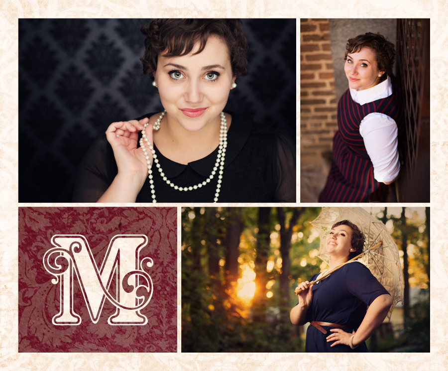portraits of Valley High School senior Annie Howard with pearls and a classy damask background at McClanahan Studio, in a nature setting at sunset and a vintage parasol, and in rustic urban setting.