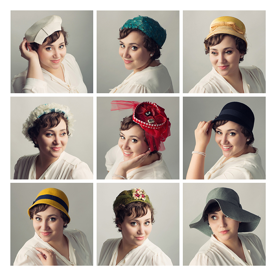 Charming collage of Annie Howard in her vintage hat collection created during her senior portrait session, photographed on a white sweep at McClanahan Studio in Ames