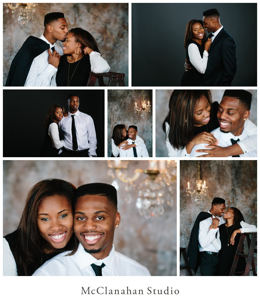 Classy portraits of Melvin Ejim and Samantha Melvin with a chandellier at McClanahan studio in Ames, taken the weekend of Melvin's graduation from Iowa State University