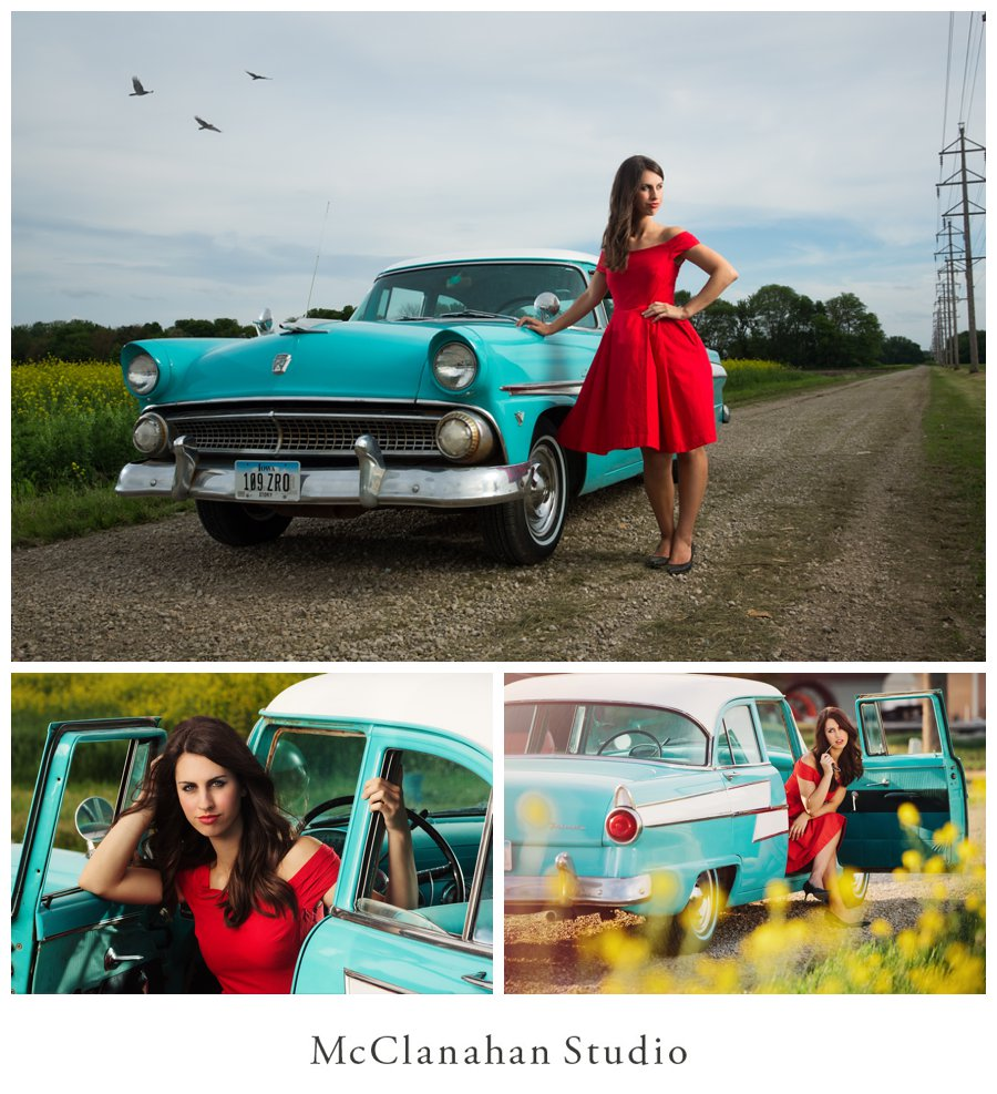 Portraits of Miranda Maher with a classic teal Ford, red lipstick, 50's red dress in Ames Iowa with McClanahan Studio
