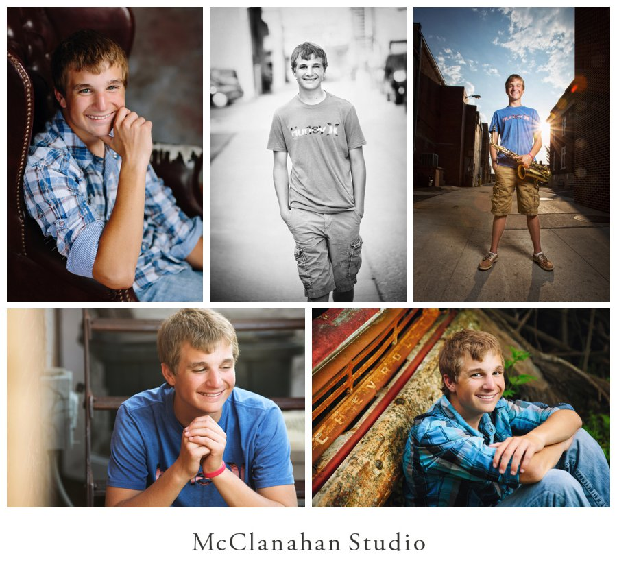 Senior photographs of Lyle Kuhlman from Kensington, Kansas taken at McClanahan Studio, Ames portrait photographer. Images include Lyle in a plaid shirt looking like a boss, as an alley cat with an alto saxophone and casually hanging out in situations that portray his personality
