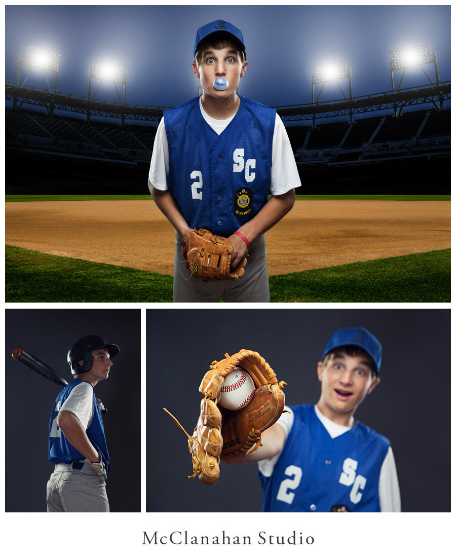 Images of Lyle Kuhlmann on a baseball diamond at night being a wonderful goof and blowing bubble gum, catching a ball in a glove and looking heroic preparing to bat. Artistic personality portraits by McClanahan Studio.