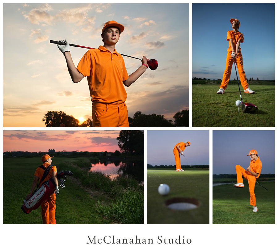 Kansas high school senior Lyle Kuhlmann on the course playing golf at Coldwater Golf Links in Ames Iowa. Portraits by McClanahan Studio at sunset t match orange golf clothes. Driving, putting, sinking, celebrating.