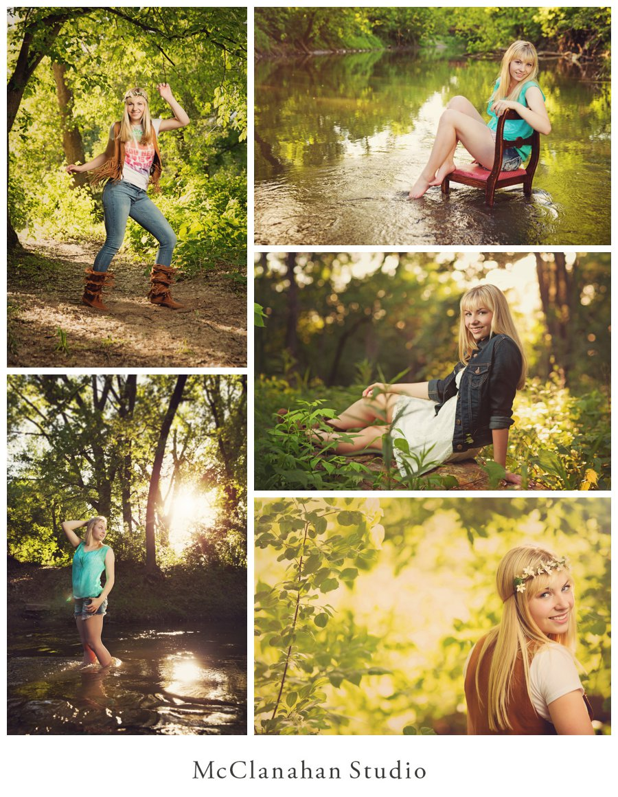 Nature inspired senior portraits of Brenna Bengston in suede fringe (a la the monkees) and in an Ames, Iowa river. Beautiful hazy sunlight creates a backdrop appropriate for Brenna's loveliness
