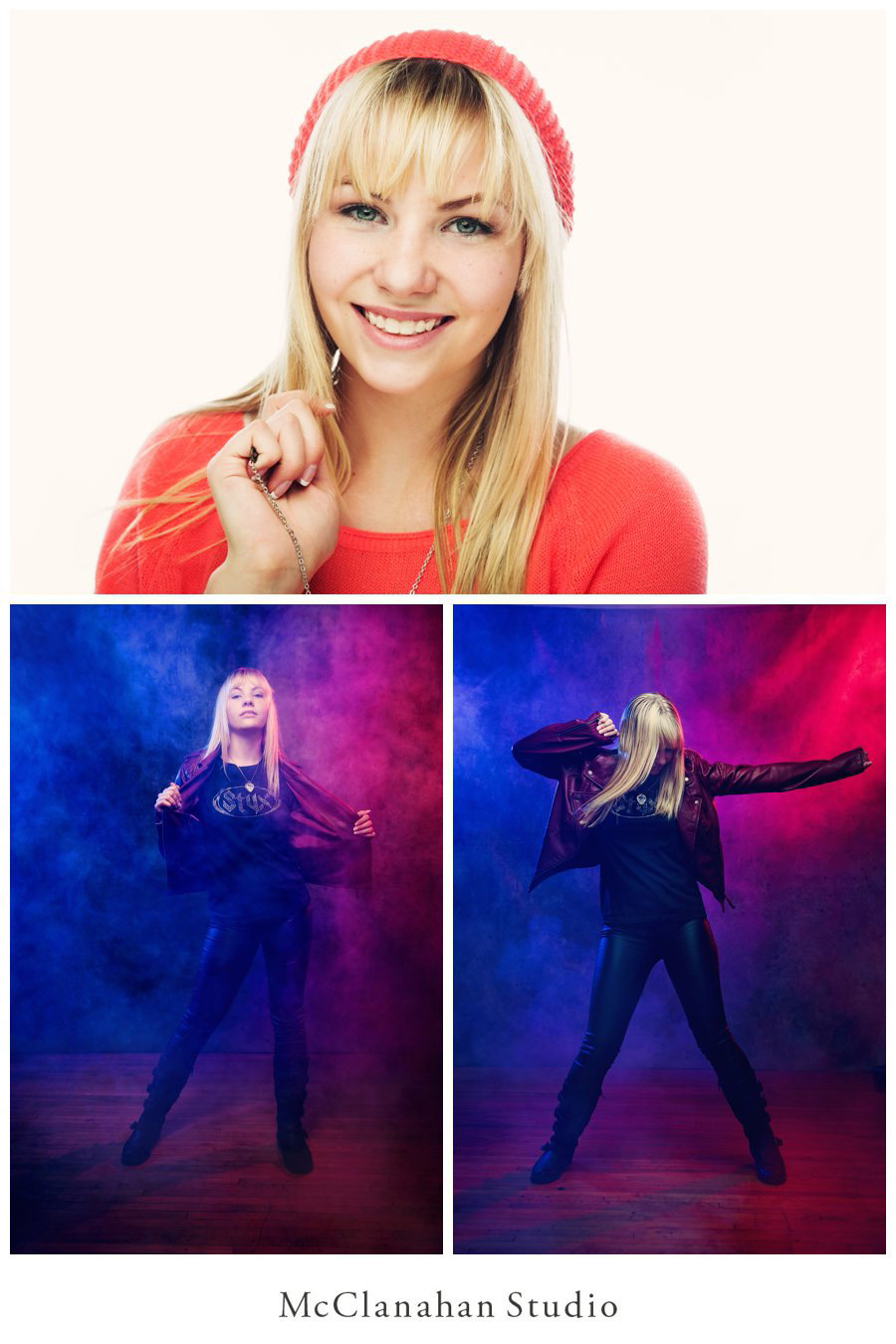 Backlit beanie photo of Brenna Bengston's killer smile. Also rock and roll senior photos showcasing Styx fandom with leather pants, stage lights and a fog machine! Taken at McClanahan Studio in Ames.
