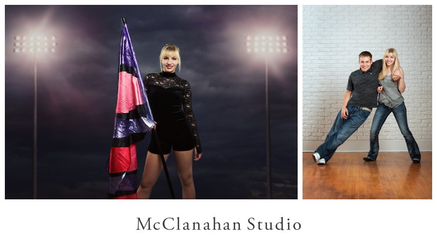 night photo of Nevada flag team member Brenna Bengston posing in her uniform beneath the football stadium lights. Also a fun portrait with her brother Brian taken at McClanahan Studio in front of the white brick wall.
