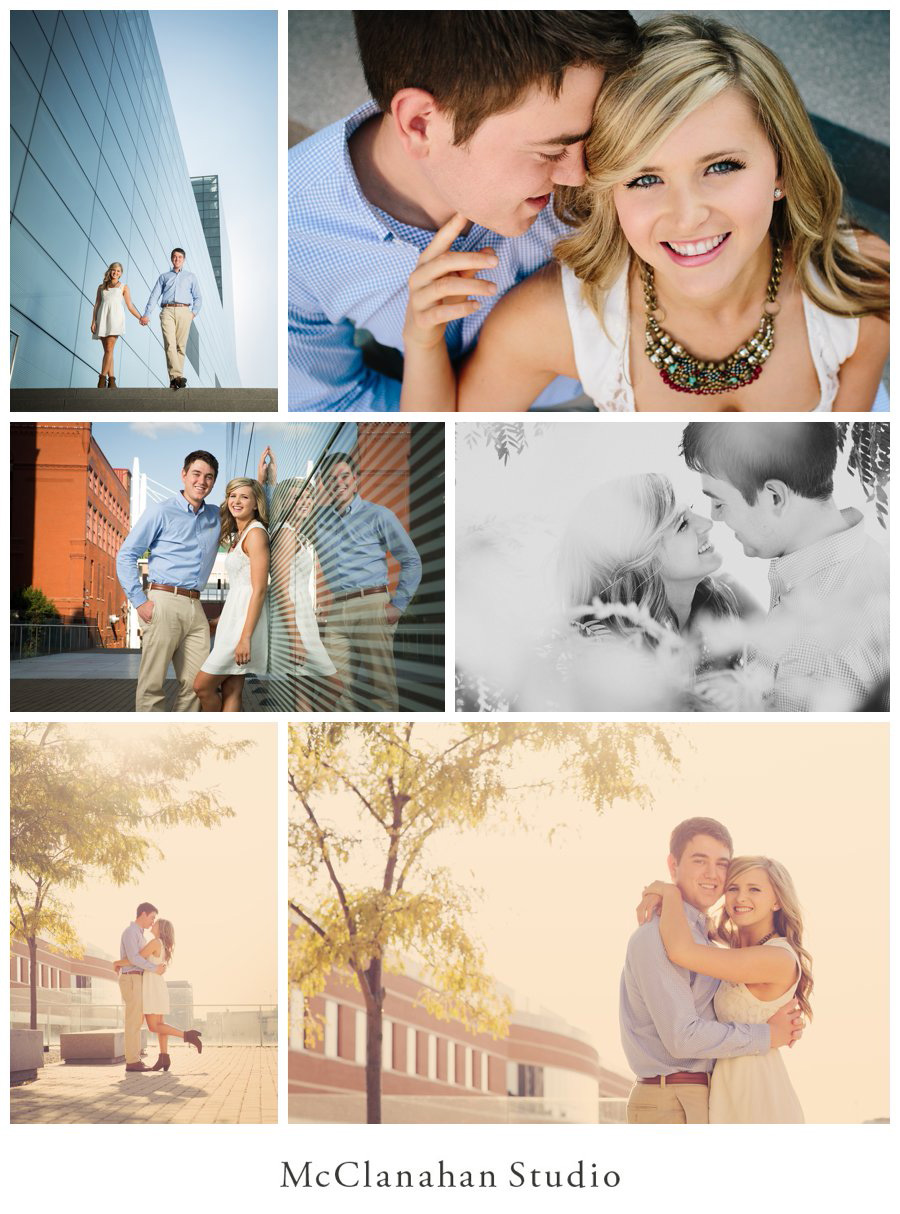 Brandon Tucker and Grace Miller's engagement photos from the Figge art museum in Davenport, IA by McClanahan studio. Architecture, hazy sunlight and flirty, loving interaction!