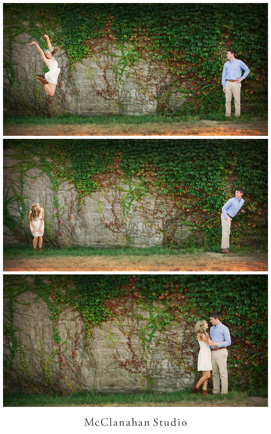 Grace Miller and Brandon Tucker flirting comically in front of an ivy wall, Quad Cities engagement photos by Iowa Wedding Photographer of the Year McClanahan Studio