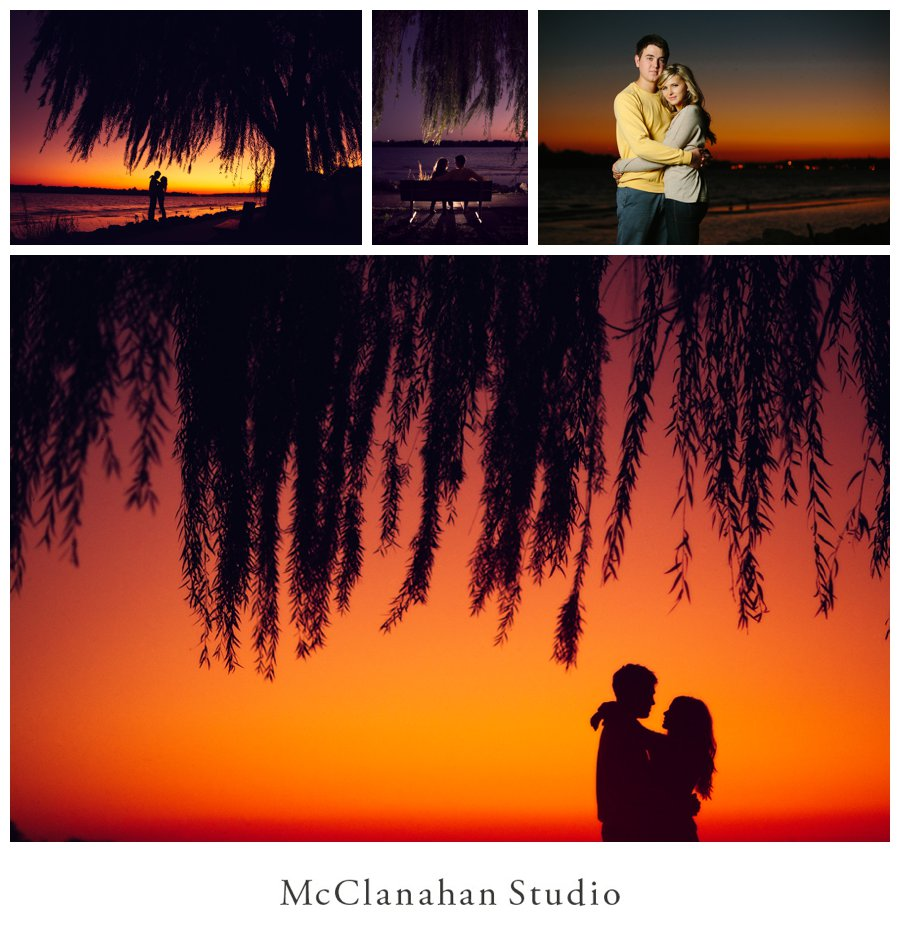 Orange sunset under a willow tree on the banks of the Mississippi river in Davenport, Iowa. Silhouette engagement photos, backlit sitting on a bench and enjoying the moment. Taken by www.mcclanahanstudio.net.