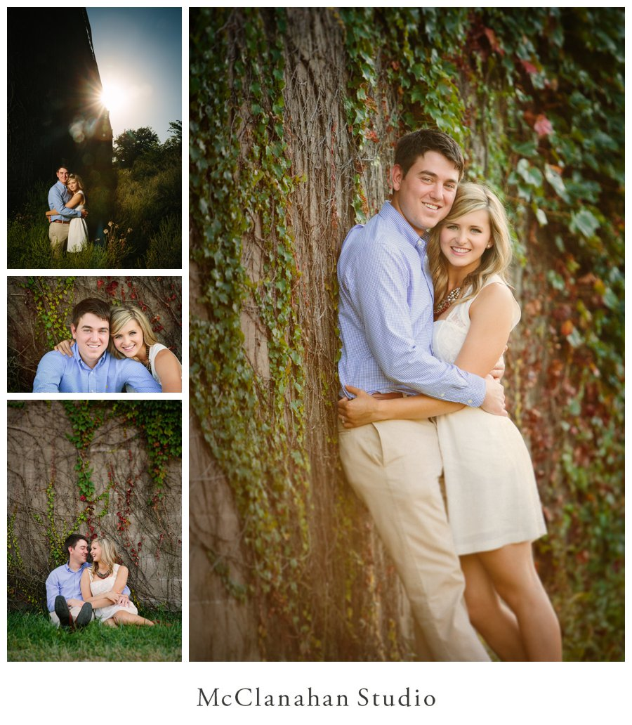 dramatic, artistic, and classic engagement photos with an ivy wall in Downtown Davenport, Iowa.