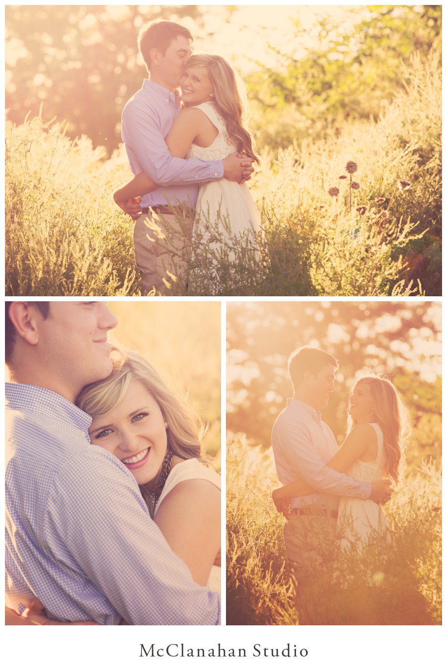 Hazy, romantic backlit engagement photos with golden sunlight and romantic cuddling. Iowa engagement photos by McClanahan Studio.
