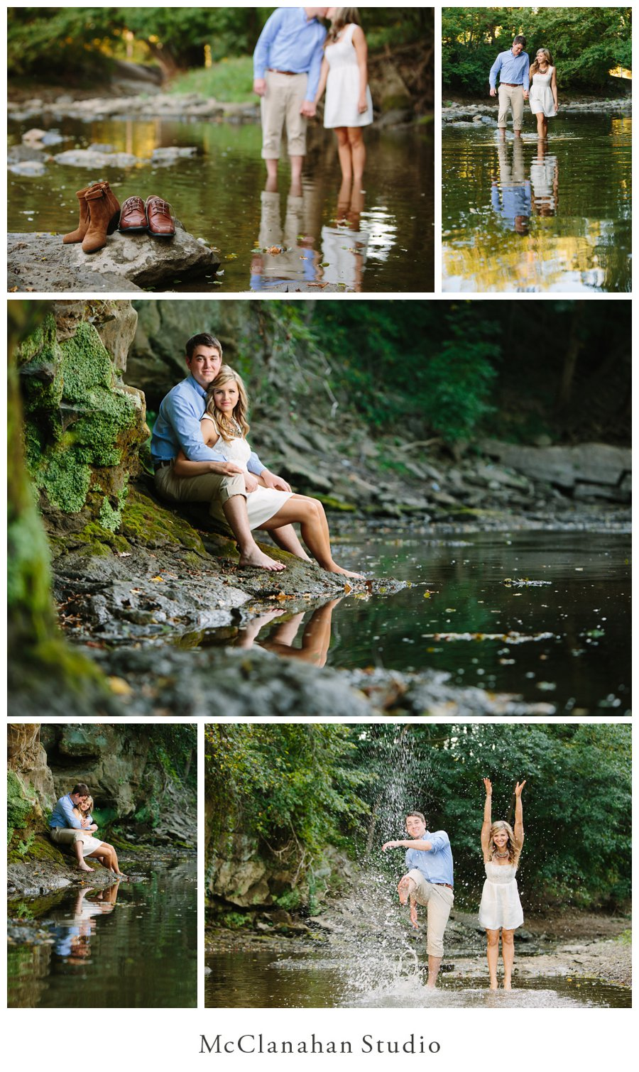 Quad Cities Engagement photo series in Duck Creek, wading in the shallows, cuddling on limestone ledges and splashing. Photos by husband/wife duo McClanahan Studio.