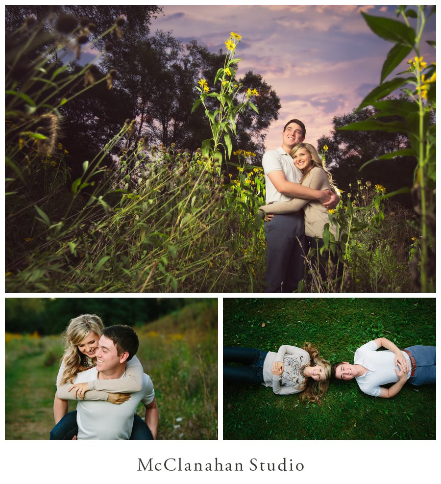 Grace Miller and Brandon Tucker sunset engagement portraits. Piggy back ride and laying in the grass on a romantic adventure in Bettendorf, Iowa.