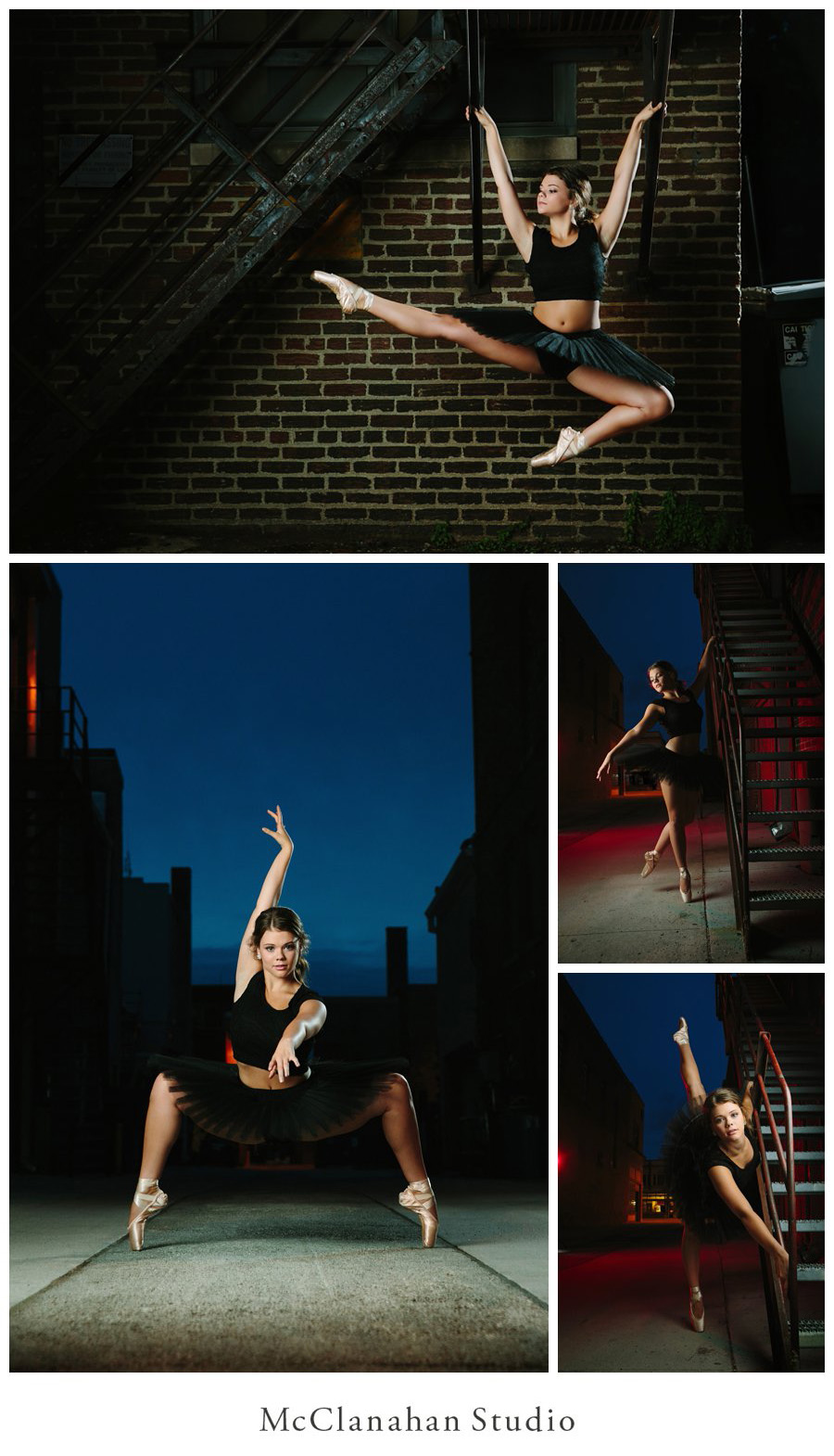 Dusk dancing, awesome senior photos of Madelene Pals from Waukee. Strobes and long exposures create edgy and surreal imagery doing artistic justice to Maddie's poise and grace. Ames, Iowa ballerina in a black tutu.