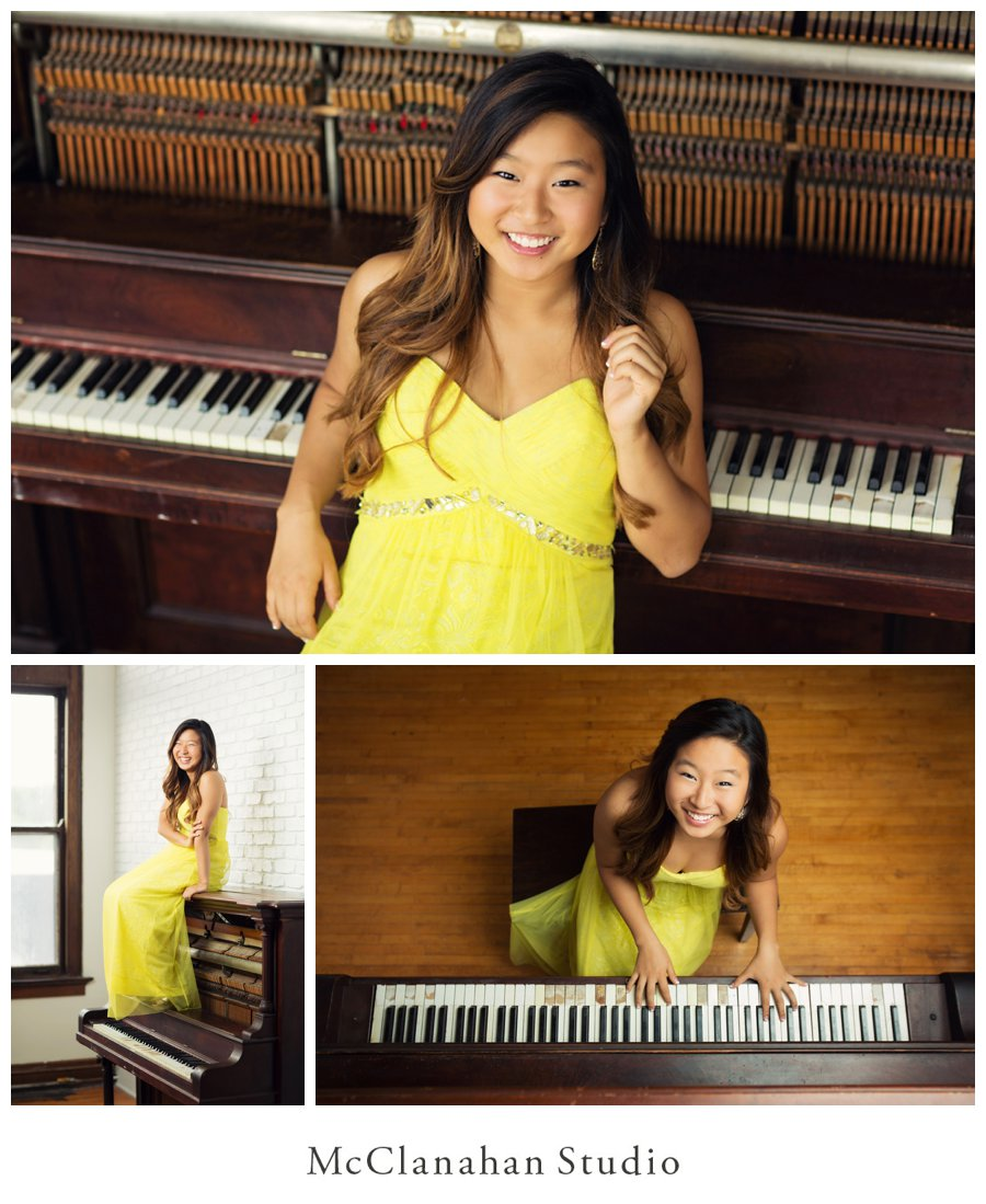 Photos of AHS senior Stephanie Shin and a vintage piano in McClanahan Studio's rustic loft in downtown Ames. Her yellow dress and killer personality are accentuated by natural light, wood floors and white brick.