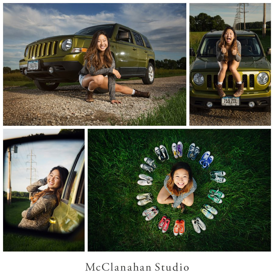 Looking like a boss with her green Jeep on a gravel road, Stephanie Shin rocked her senior session with McClanahan studio. Also included is a birds-eye view portrait of Stephanie with her converse shoe collection!