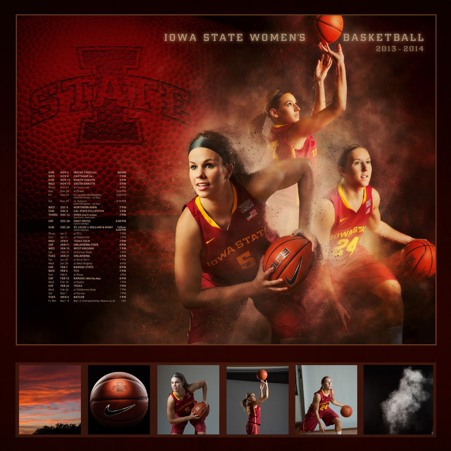 "Iowa State Cyclone Women's Basketball poster featuring hallie christofferson by Des Moines photographer Dan McClanahan. entitled ""the perfect storm,"" the poster shows three seniors emerging from a storm cloud in action poses. Photo was selected for the 2014 PPA General Collection."
