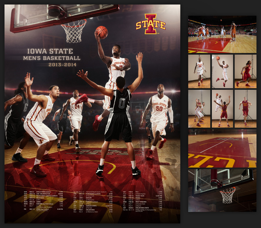 Des Moines Photographer Dan McClanahan created this poster for Iowa State Cyclone Men's Basketball  2014 season. Featuring Melvin Ejim, DeAndre Kane, Georges Niang executing a drive in Hilton Coliseum against a fictitious opponent. Composite image was selected for the 2014 PPA Loan Collection.