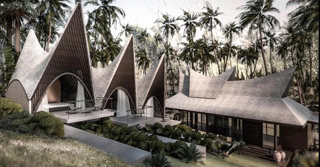 We love Indonesia with all its different Minang style interpretations out there. These units though will be constructed as grid shells. The extension to a beautiful existing wood structure will have an array of 3 roofs becoming the guest house for kids from 0-100. #alexisdornier #alexisdornierarchitecture #bali #architecture
