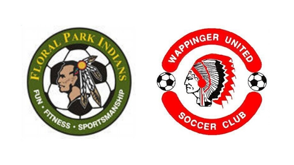 Left: Floral Park Indian Soccer Club Logo; Right: Wappingers United Soccer Club Logo