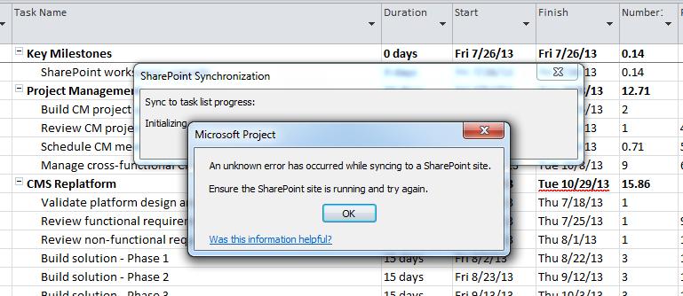 SharePoint Sync Error