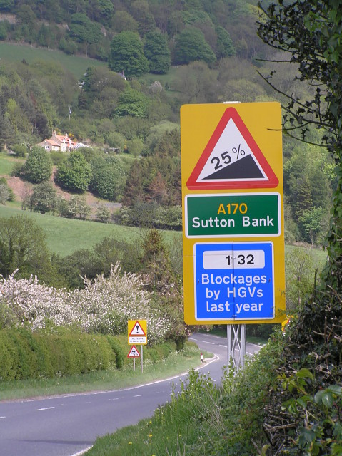 Warning sign for Sutton Bank grade on the A170