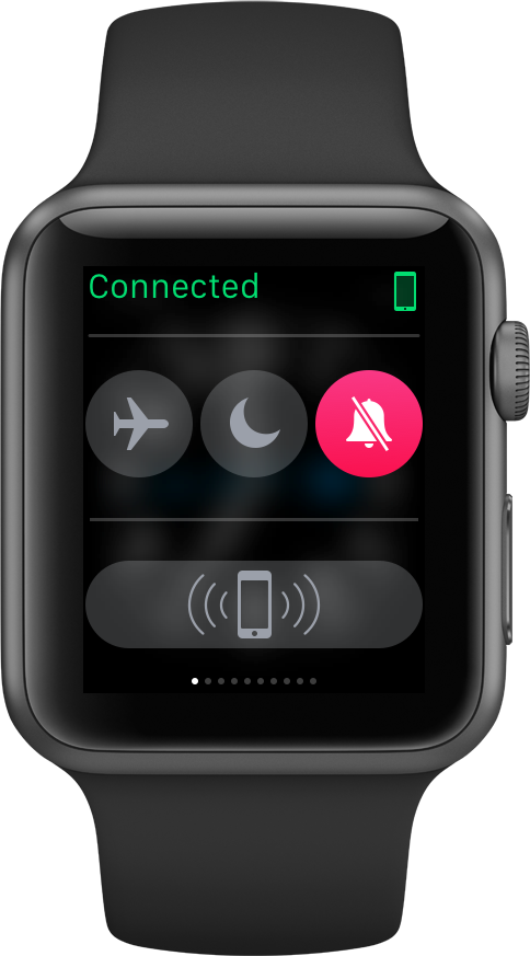 Apple Watch connected to iPhone. Over Wi-Fi, that can span an entire house.