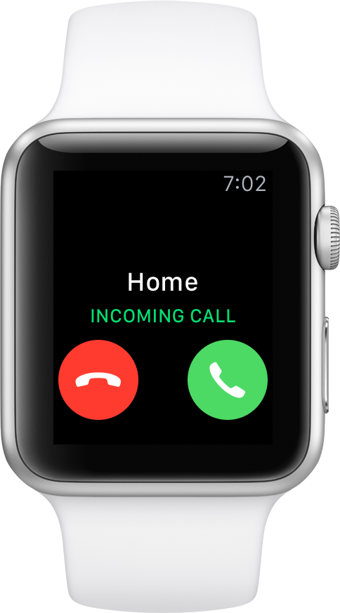 Incoming call on Apple Watch: send to voicemail or answer.