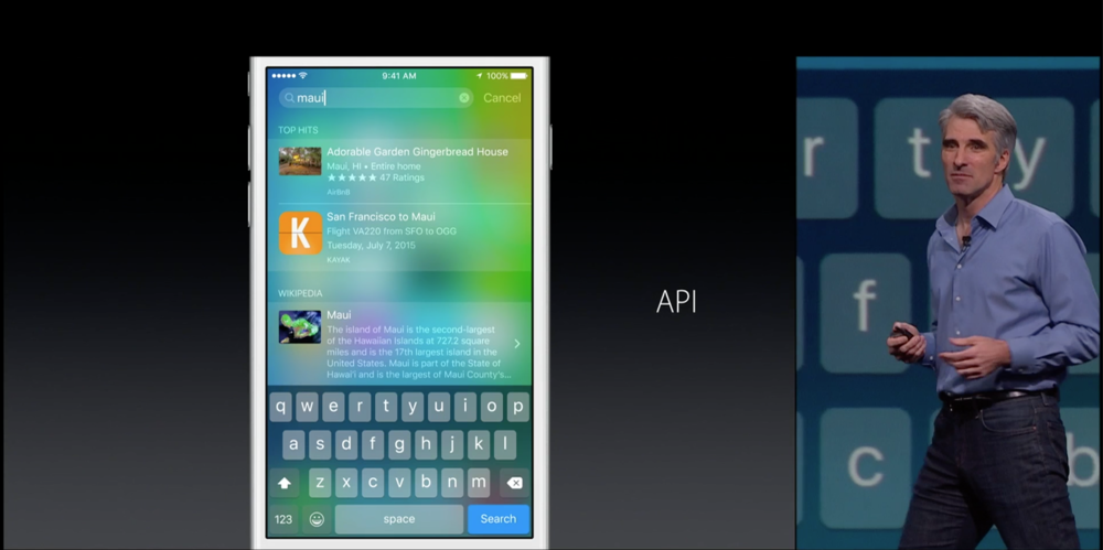 Craig Federighi presenting iOS 9 search at WWDC15