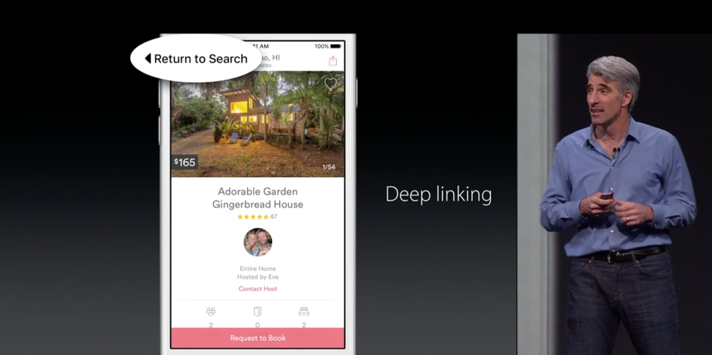 Craig Federighi shows off deep linking and Return to Search button