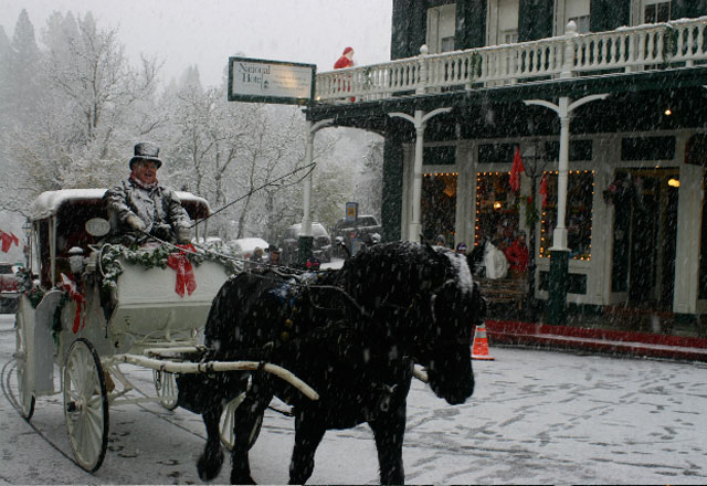 Horse-drawn sleigh rides at Nevada City's Victorian Christmas Image from nevadacitychamber.com