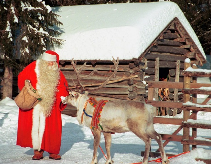 Santa feeding a reindeer at Santa Claus Village Image from santaclausvillage.info