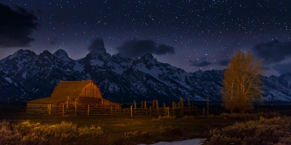 Mormon Barn by Starlight