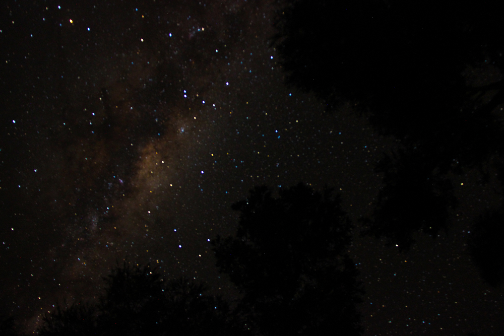 The Milky Way is clear without light pollution of towns and cities to dull it.
