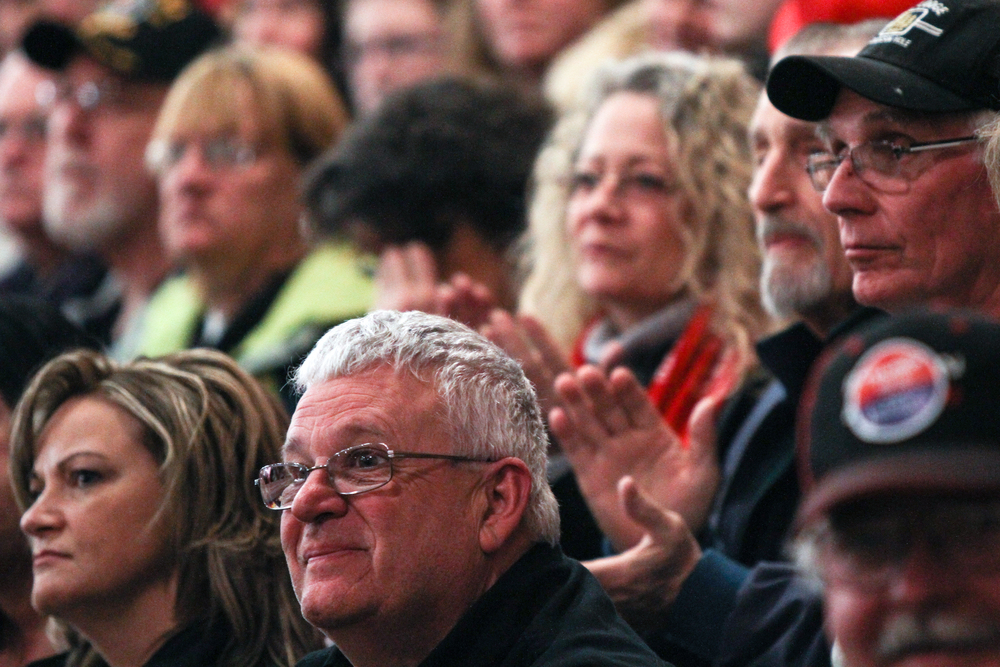 Attendees wait for Donald Trump to take the stage at a Donald J. Trump for President Rally at Farmington High School, 40 Thayer Dr., Farmington, NH on Jan. 26, 2016.