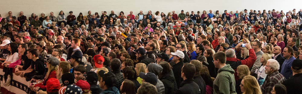 Hundreds of supporters gather for a Donald J. Trump for President Rally at Farmington High School, 40 Thayer Dr., Farmington, NH on Jan. 26, 2016.