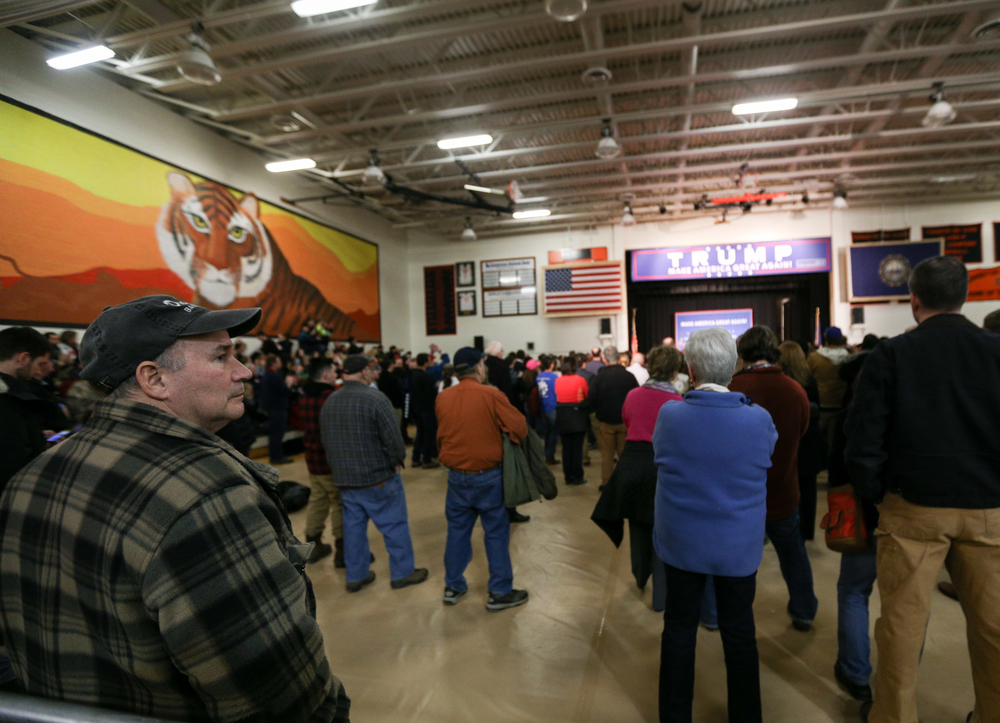 Hundreds gather for a Donald J. Trump for President Rally at Farmington High School, 40 Thayer Dr., Farmington, NH on Jan. 26, 2016.