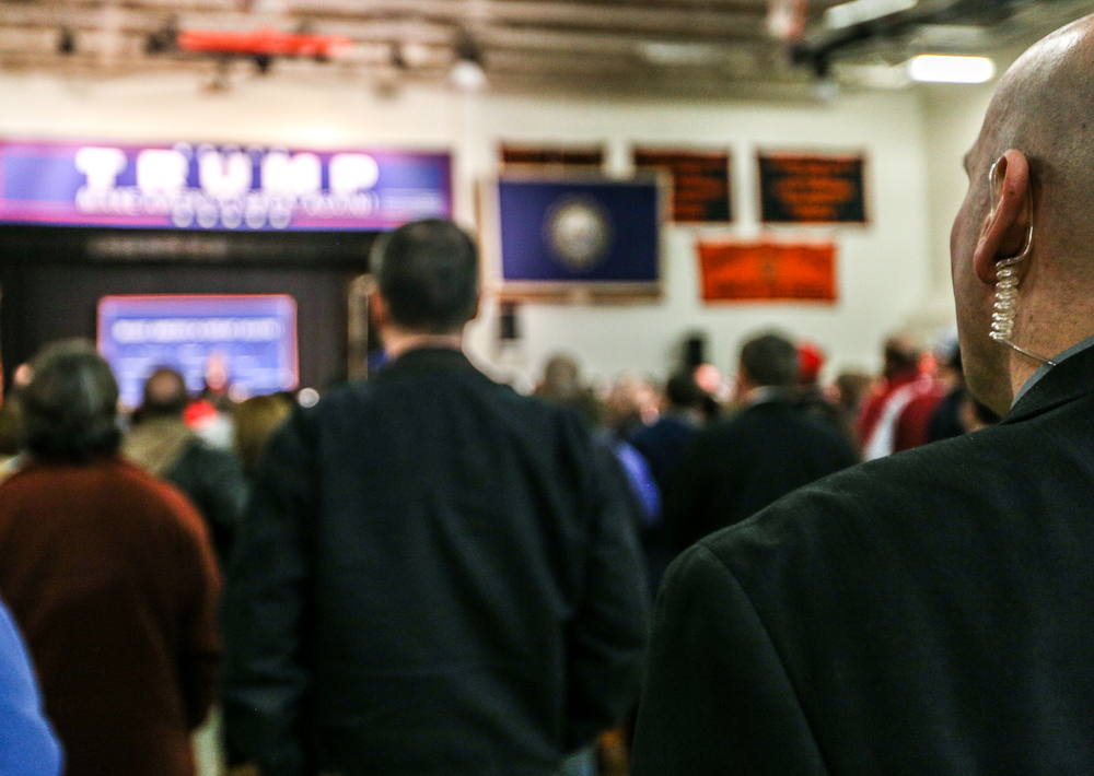 Security patrols a Donald J. Trump for President Rally at Farmington High School, 40 Thayer Dr., Farmington, NH on Jan. 26, 2016.