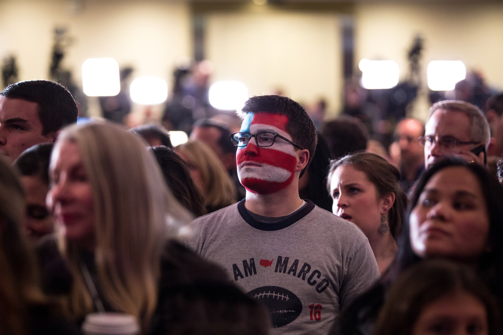 Manchester NH, Feb. 9, 2016 - Michael Skocay, of Cambridge MA, waits for voting results to come in during Marco Rubio's New Hampshire Primary watch party at the Radisson Hotel. Photo by Alexandra Wimley