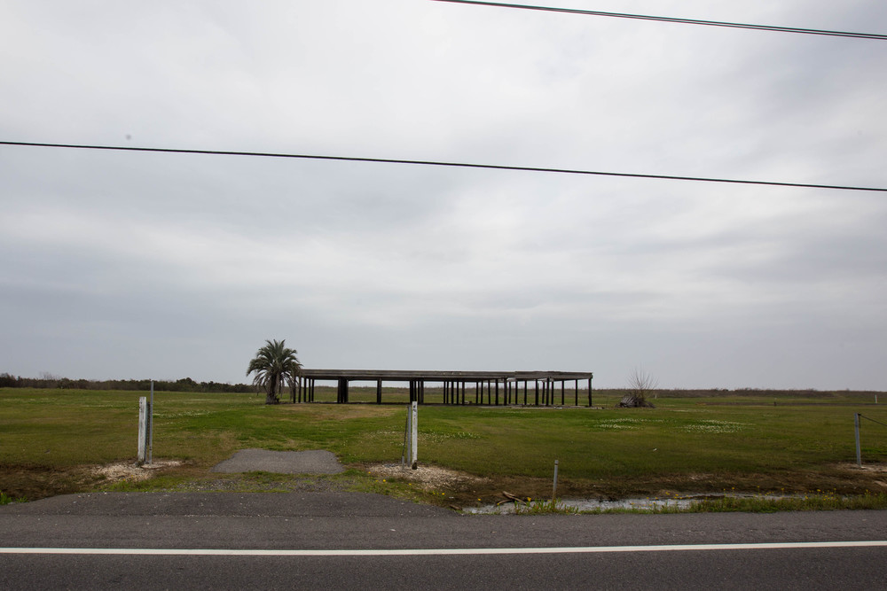 Nothing left but a foundation, near Pointe-aux-Chenes, La