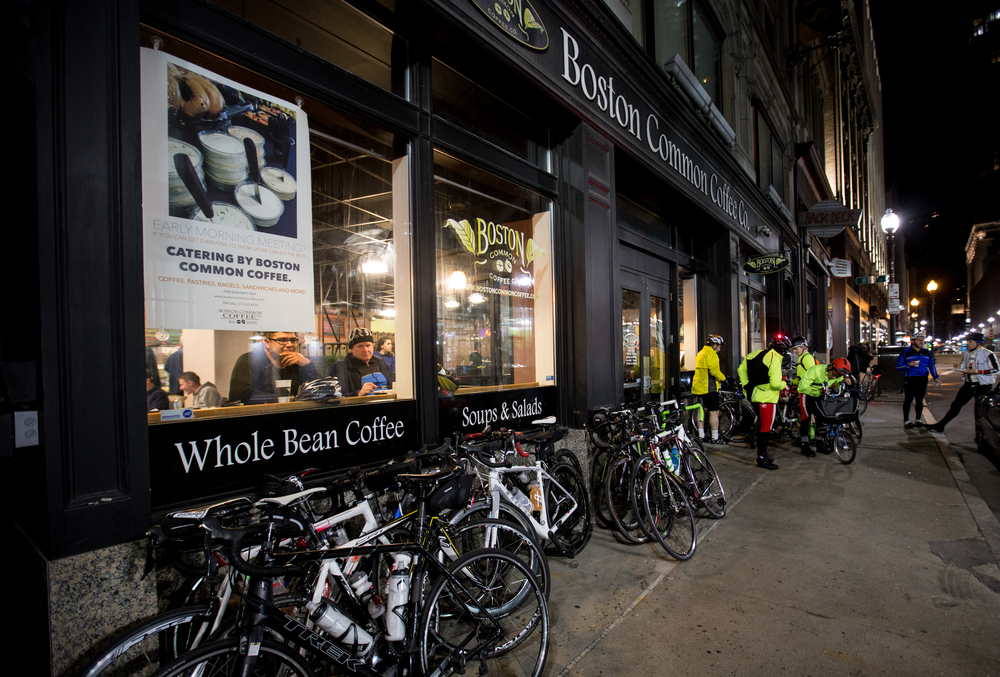 Bikes pile up outside Boston Common Coffee Co. where riders enjoyed a pancake breakfast after completing the Midnight Marathon Bike Ride, which begins at midnight on April 18 in Hopkington, Mass., and traverses the route of the Boston Marathon.